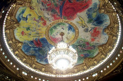 Grand Opera de Paris. Interior view of the Grand Opera Garnier in Paris. A fresco decorates the ceiling. Neo baroque style royalty free stock images