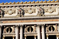 Grand Opera Paris Garnier facade front view france. Front view with details of the Facade Grand Opera National Opera Garnier in Paris with sculptures and famous stock image