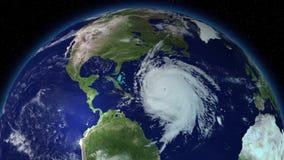 Grand ouragan autour de l'Amérique du Nord Vue satellite illustration de vecteur