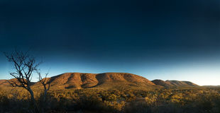 Australian Landscape. Outback mountain with golden light a big big blue sky Royalty Free Stock Photos