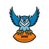 Grand Owl American Football Mascot à cornes illustration stock