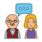 Grand-père et fille mignons avec la bulle de la parole illustration stock