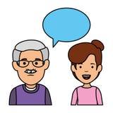 Grand-père et fille mignons avec la bulle de la parole illustration de vecteur