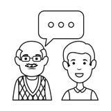 Grand-père et fils mignons avec des bulles de la parole illustration libre de droits