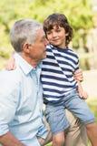 Grand-père et fils souriant en parc Image libre de droits