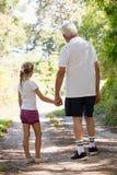 Grand-père et petite-fille tenant des mains tout en marchant ensemble Image libre de droits