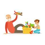 Grand-père jouant des jouets avec le garçon, une partie de grands-parents ayant l'amusement avec la série de petits-enfants illustration stock