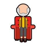 Grand-père mignon dans le caractère d'avatar de sofa Photographie stock libre de droits