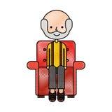 Grand-père mignon dans le caractère d'avatar de sofa Photo stock