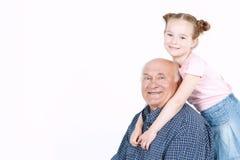 Grand-père passant le temps avec la petite-fille Image stock