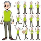 Grand-père vert de gilet à disposition peint Photos libres de droits