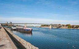 Grand pétrolier ancré au bateau de contrôle personnalisé sur le Danube avec le pont à l'arrière-plan image libre de droits