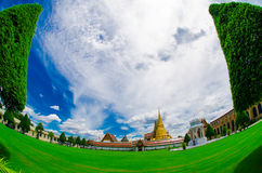 Grand palace, Bangkok, Thailand, fish eye Royalty Free Stock Photo