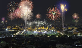 Grand palace with Beautiful Fireworks for celebration at twiligh Royalty Free Stock Photography