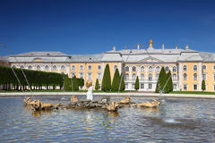 Grand Palace and fountain Oak of Peterhof Royalty Free Stock Image