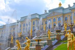 The Grand Palace and fountains. In Peterhof, St. Petersburg suburb Royalty Free Stock Image