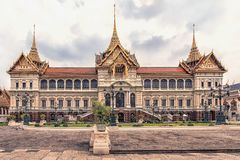 Chakri Maha Prasat in the Grand Palace in Bangkok. The Grand Palace has been the official residence of the Kings of Siam stock photography
