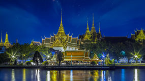 Grand palace at night in Bangkok Stock Image