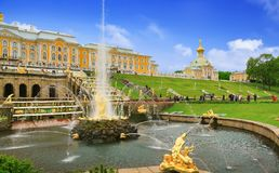 Grand Palace in Petergof Royalty Free Stock Photo