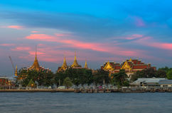 Grand palace river side at evening time Stock Image