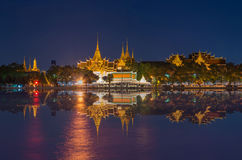 Grand palace river side at twilight time in Bangkok Royalty Free Stock Image
