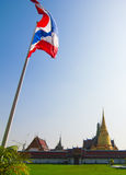 Grand palace and Thailand Flag Royalty Free Stock Images