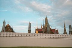 The grand palace in the middle of Bangkok which is really beautiful and wonderful royalty free stock photography