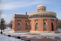 Grand Palace in Tsaritsyno reserve, Moscow, Russia. The residence of Catherine the great Royalty Free Stock Images