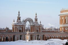 Grand Palace in Tsaritsyno reserve, Moscow, Russia. The residence of Catherine the great Royalty Free Stock Photography