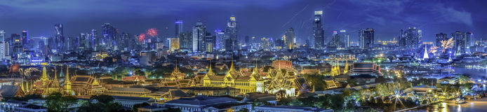 Grand palace at twilight in Bangkok between Loykratong festival Royalty Free Stock Photography