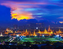 Grand palace at twilight in Bangkok, Thailand Royalty Free Stock Photos