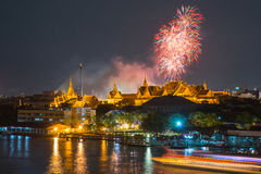 Grand palace at twilight with Colorful Fireworks (Bangkok, Thail Stock Image