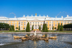 Grand Palace view from the Oak pond. Grand Palace view from the Oak pond with a fountain in the Peterhof State Museum Preserve Stock Image