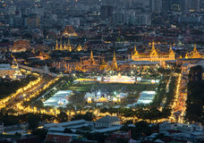 Grand palace and Wat phra kaeo during  King birthday celebration Stock Photo