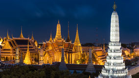 Grand palace and Wat  phra  keaw  at twilight in Bangkok, Thailand. Grand palace and Wat  phra  keaw Royalty Free Stock Image