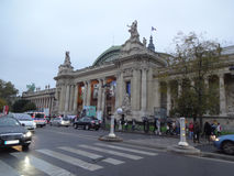 Grand Palais Outside Traffic. Grand Palais Entrance Street Traffic in Paris France Stock Images
