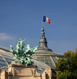 Grand Palais in Paris flying French flag Royalty Free Stock Image