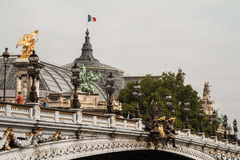 Grand Palais in Paris with the french flag royalty free stock photos