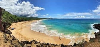 Grand panorama stupéfiant de plage, Maui image libre de droits