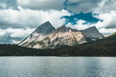 Grand Panorama of Surrounding Peaks at Maligne Lake, Jasper National Park. Photo taken in Canada, Alberta Royalty Free Stock Photography