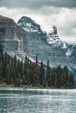 Grand Panorama of Surrounding Peaks at Maligne Lake, Jasper National Park. Photo taken in Canada, Alberta Royalty Free Stock Photo