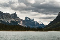 Grand Panorama of Surrounding Peaks at Maligne Lake, Jasper National Park. Photo taken in Canada, Alberta Stock Photos