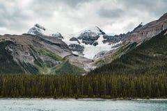 Grand Panorama of Surrounding Peaks at Maligne Lake, Jasper National Park. Photo taken in Canada, Alberta Stock Photo