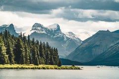 Grand Panorama of Surrounding Peaks at Maligne Lake, Jasper National Park. Photo taken in Canada, Alberta Stock Images