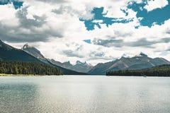 Grand Panorama of Surrounding Peaks at Maligne Lake, Jasper National Park. Photo taken in Canada, Alberta Stock Photography