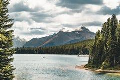 Grand Panorama of Surrounding Peaks at Maligne Lake, Jasper National Park. Photo taken in Canada, Alberta Stock Image