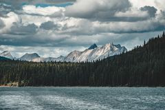 Grand Panorama of Surrounding Peaks at Maligne Lake, Jasper National Park. Photo taken in Canada, Alberta Stock Image