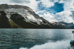 Grand Panorama of Surrounding Peaks at Maligne Lake, Jasper National Park. Photo taken in Canada, Alberta Royalty Free Stock Images