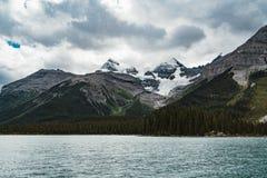 Grand Panorama of Surrounding Peaks at Maligne Lake, Jasper National Park. Photo taken in Canada, Alberta Stock Photos