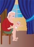 Grand-papa avec le bébé Image stock
